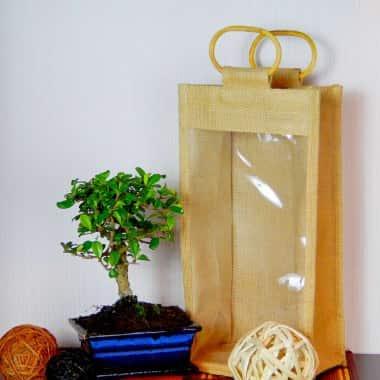Бонсай Кармона в джутовой сумочке